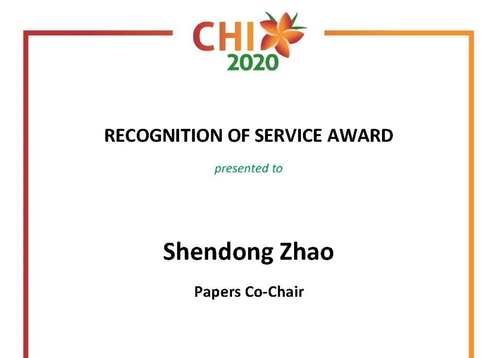 CHI 2020 Recognition Award
